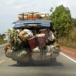 A slightly overloaded bus in Cambodia